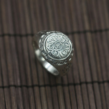 925 silver restoring ancient ways buddhist Sanskrit six words ring All silver index finger ring men on sale(China)