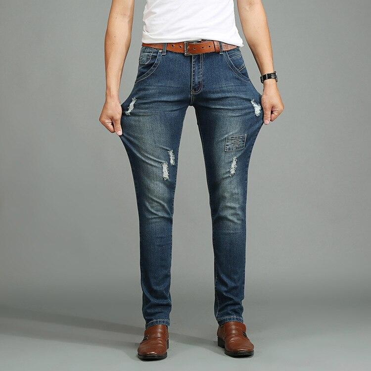 2017 Mens Ripped Jeans Slim Foot Stretch Posted Badges Tide Skinny Jeans Men Fashion Denim Pants Men Size 28-48Одежда и ак�е��уары<br><br><br>Aliexpress