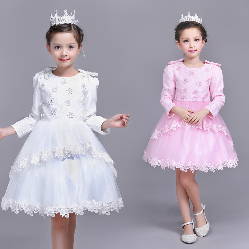 2017 Spring Autumn Girls Princess Formal Long Sleeve Flower Bow Dress Cotton O-Neck Kids Girl Birthday 3-10 Years Party Dresses<br>