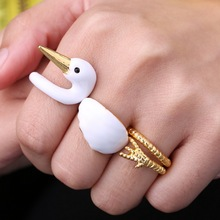 hot 3pcs/lot DIY gold color Punk Style Animal Swan Rings for Women Fashion