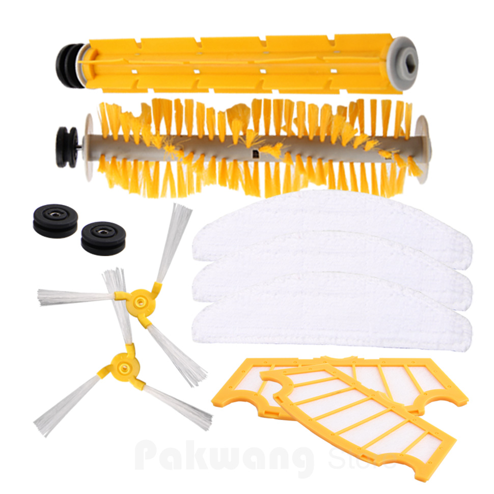 Original cleaner robot parts For A325 Vacuum Cleaner, Side brush 2pcs, Rubber brush 1pc, Hair brush 1pc, Filter 2 pcs, Mop 3 pcs<br>