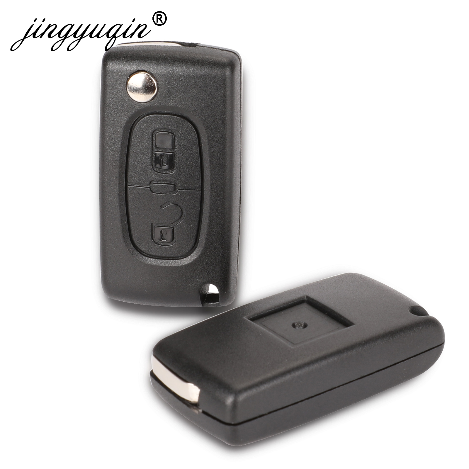 jingyuqin 2 Buttons Flip Folding Key Case Blank Shell For Peugeot 107 207 407 307 307S 308 407 607 807 VA2/HCA Ce0523 Ce0536(China)
