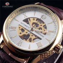 Forsining Mechanical Skeleton Side Carving Design Automatic Wrist Watch Business Clock Gold Mens Watches Top Brand Luxury Clock(China)