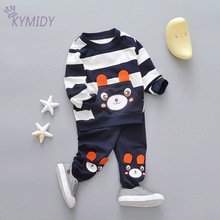 Spring Children's Suits baby clothes Striped Sweater and Pocket Pants Casual Cartoon Bear Image Cotton baby girl clothes New(China)