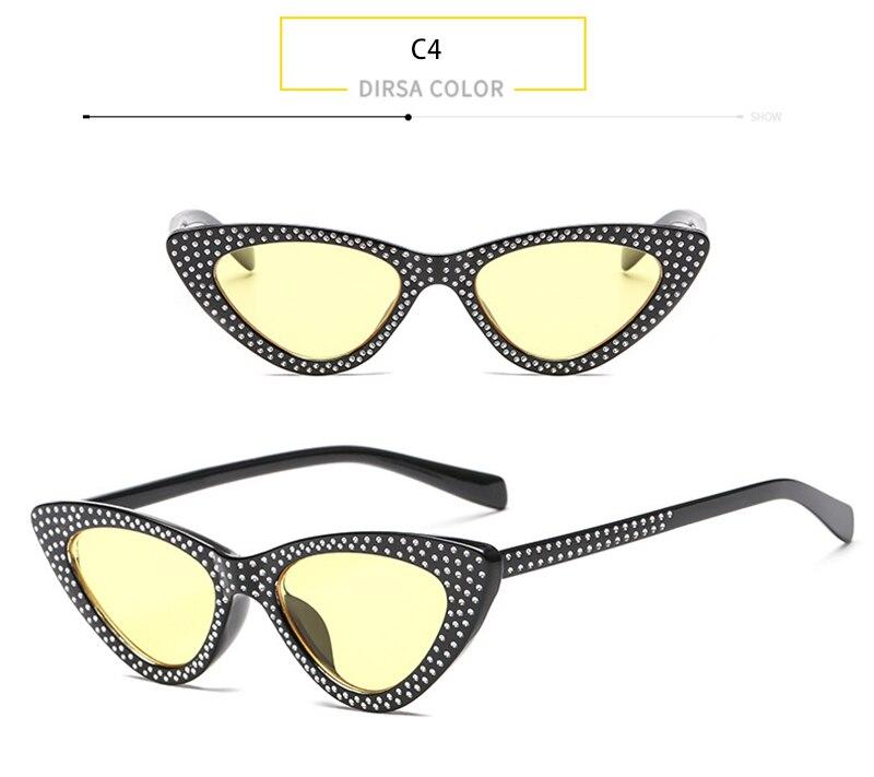 HOKU Hot Sale Fashion Cat Eye Women Sunglasses Brand Designer Diamante Ladies Sun Glasses Ocean Lens Oculos De Sol W312