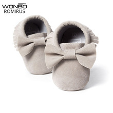 NEW Styles Baby Soft Flock Tassel Moccasins Girls Moccs Baby Booties Shoes Bow design Moccasin shoes Newborn shoes Grey color(China)