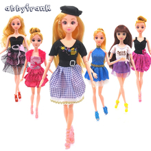Abbyfrank 5 pcs/lot Mix Style American Girl Party Clothes Top Fashion Dress For Doll Best Kid Toys Gift Play House Dressing Up