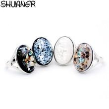 SHUANGR Lady fashion Elegant Oval White Natural Shell Big Stone Rings antique silver hollow black high-quality silver jewelry