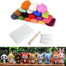 16 Colors Wool Felt with 9 Needles Felting Handle Mat Set Starter Kit For DIY Craft Home Sewing Tools