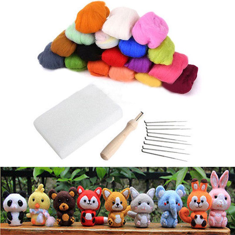 16 Colors Wool Felt with 9 Needles Felting Handle Mat Set Starter Kit For DIY Craft Home Sewing Tools(China (Mainland))
