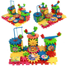 81 Pieces Electric Gears 3D Puzzle Building Kits Plastic Bricks Puzzle Educational Toys For Children Kids Gift