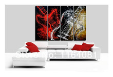 Free Shipping Living Room High Quality Modern Abstract Music Guitar Oil Painting On Canvas Art Wall Home Decor