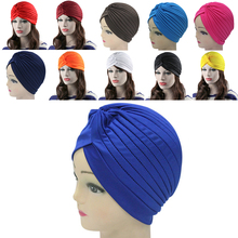 Top Sale Unisex Indian Style Fashion Stretchable Turban Hat Hair Head Wrap Cap Headdress