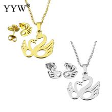 YYW Lover Wedding Gold-color Stainless Steel Jewelry Sets Animal Bird Stud Earring Pendant Choker Oval Chain Necklace Woman