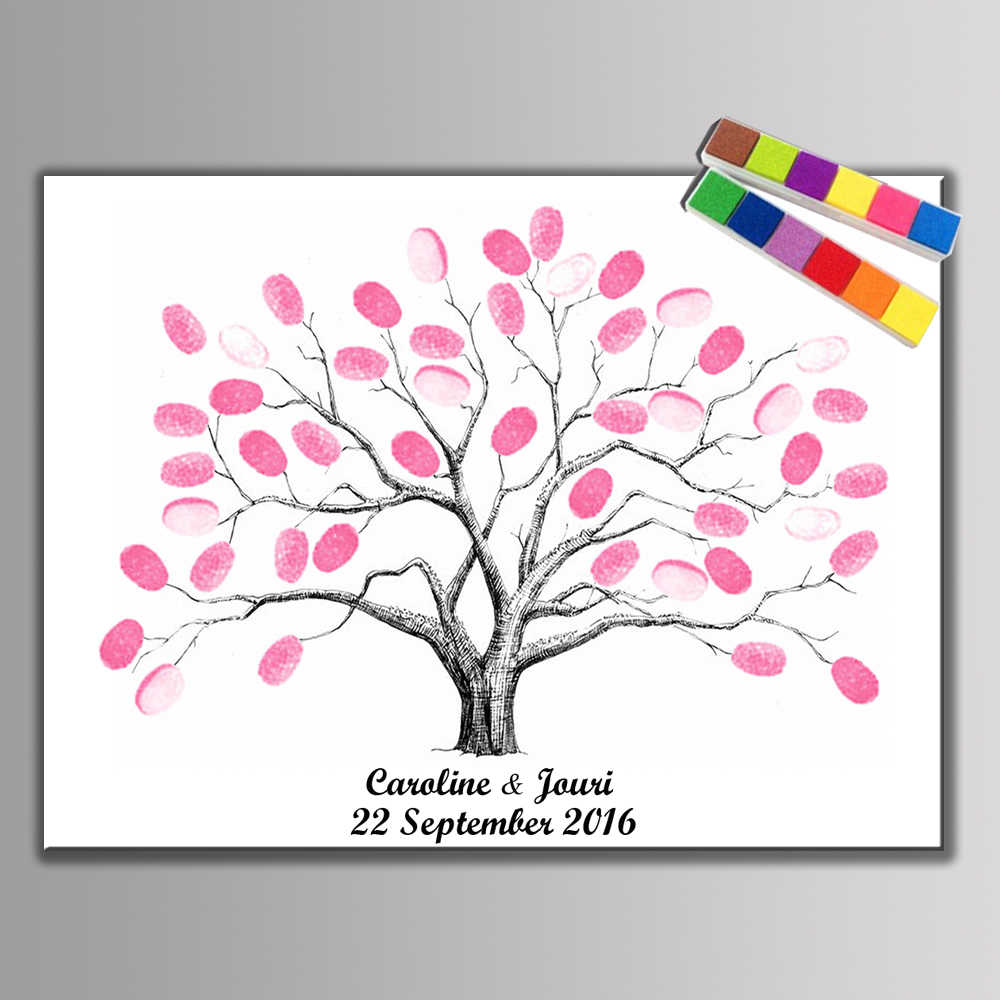 1 set Creative DIY Fingerprint Tree Personal Custom Signature Guestbook For Birthday Party Wedding Decoration (Ink Pad Included)