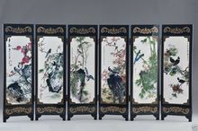 Chinese Lacquer Handwork Painting Auspicious folding Screen Decor gift(China)