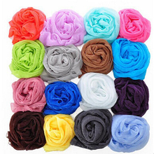women fashion solid cotton voile warm soft silk scarf shawl cape 16 colors available Winter Fall Long Warm Scarf Shawl