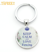 TAFREE Brand vintage Keep Calm and Love Fencing key chain ring holder fashion fencers jewelry mens casual sports keychain SP98