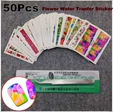 50Sheets + 1Pcs Tweezers Curved Nail Art Flower Water Sticker Nails Beauty Wraps Foil Polish Decals Temporary Tattoos Watermark(China)