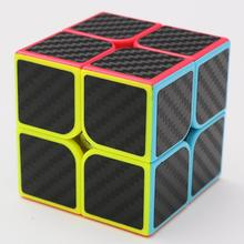 New Office Relaxing Toys For Grownups Carbon Fiber Sticker Rubik Cube Speed 2x2x2 Smooth Magic Fidget Cubes For Children Gift(China)