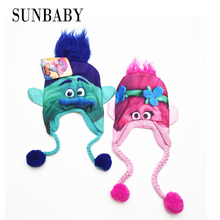 Kids high quality cartoon Trolls winter hats trolls costume boys girls Bomber Hats for 6-10 years old(China)
