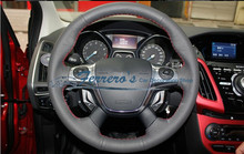 Free shipping Sew-on genuine leather car steering wheel cover Car accessories For Ford KUGA 2012 FOCUS