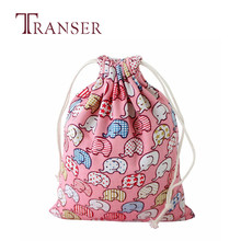 TRANSER School Book Girl Elephant Printing Drawstring Beam Port Storage Bag Candy Bags Gift Bag Women Cute High Quality Aug17