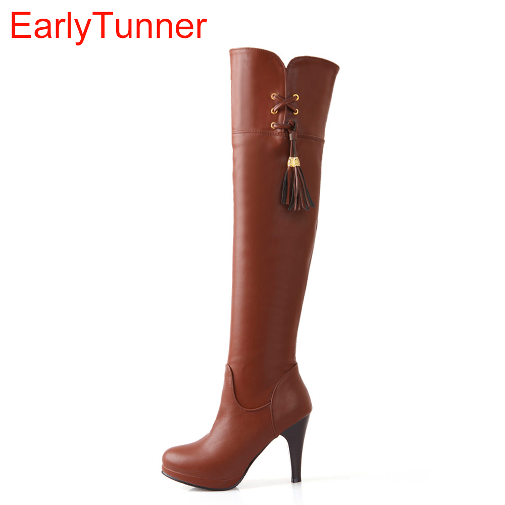 Brand  New Hot Sales Black Brown High Heels Women Over The Thigh Knee High Boots Ladies Shoes A580C Plus Big size 10 32 43 48<br>
