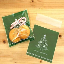 200Pcs/Lot 10cm*10cm Greeen Christmas Tree Snack Self-adhesive Plastic Packaging Bag For Biscuit Cookie Cake Baking Storage Bag