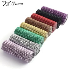 "Kiwarm 1yard / 91cm 4.6"" Wedding Diamond Mesh Trim Roll Sparkle Rhinestone Crystal Ribbon Party Wedding Decoration Supplies"