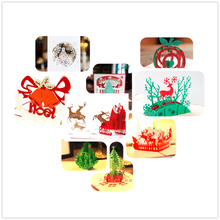 Vintage Kirigami & Origami Christmas Theme 3D laser cut pop up paper handmade postcards custom greeting cards