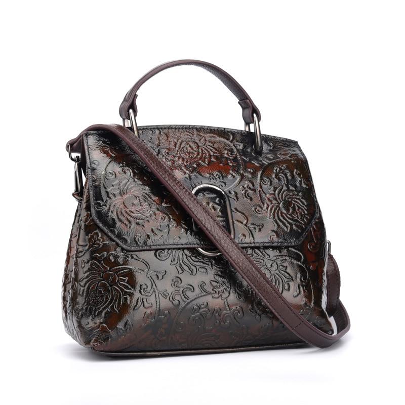 Brand New Genuine Leather Distressed Casual Handbag Womens Shoulder Messenger Bag Travel Pack Flower Engraved Bushed Off<br>