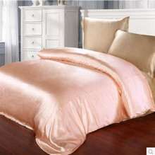 Orange Pink Color 100% mulberry silk duvet cover natural silk sheets  4 pieces bedding set 16.5 mm seam Queen size customize