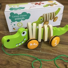 baby educational wooden toy pull along crocodile dog in bright color good quality good gift for boy girl body swing when it goes