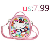 Child Satchel Bag Hello Kitty  Cartoon Princess Shoulder & Handbags  High grade PU material 7 styles to choose from