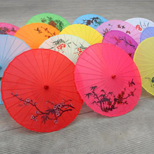 1pcs Chinese Silk Sun Umbrella for Dance Wedding Parasol for Bridemaid Decoration Wooden Umbrella Wedding Decoration Items(China)