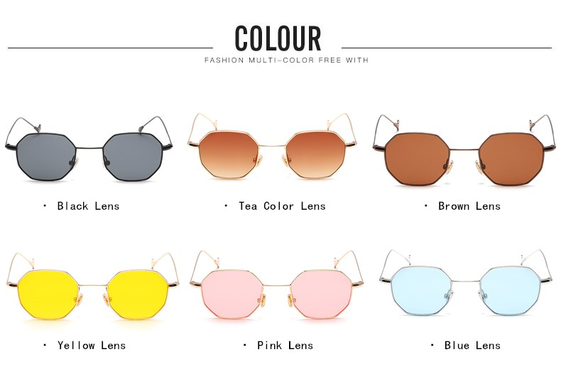 FMY Multi Shades Square Sunglasses Women Brand Gradient Ocean Lens Sunglasses Retro Ladies Mirror Metal Frame Glasses UV400 6660