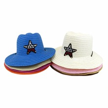LNPBD 2017 boy and girl summer cowboy hat jazz hat straw hat with five pointed star wind rope children's sun hat 54 cm(China)