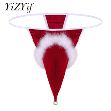 Buy YiZYiF Gay Underwear Red Mens Lingerie Velvet Santa Hat Christmas Holiday Fancy Cosplay G-string Thong Underwear Small Bell