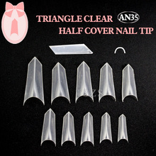 1bags/ lot -500pcs 3D Design Sharp Nail Tips Clear Triangle French Fake Nails(China)