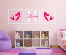 Personalized Custom Girls Name Mermaids Beauty Pattern Wall Decals Vinyl Removable Girls Baby Room Decorative Wall Sticker M-12