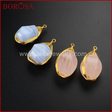 BOROSA Gold Wire Wrapped Faceted Egg Shape Blue Chalcedony And Pink Quartz Crystal Nugget  Pendant Beads Fashion Jewelry WX229