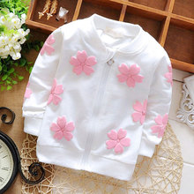 Spring autumn baby girls clothes sports cardigan sweatshirts jacket for girls baby clothing flower cotton zipper coat hoodies(China)