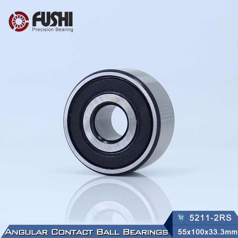 5211 2RS Bearing 55 x 100 x 33.3 mm ( 1 PC ) Axial Double Row Angular Contact 5211RS 3211 2RS 3056211 Ball Bearings<br>