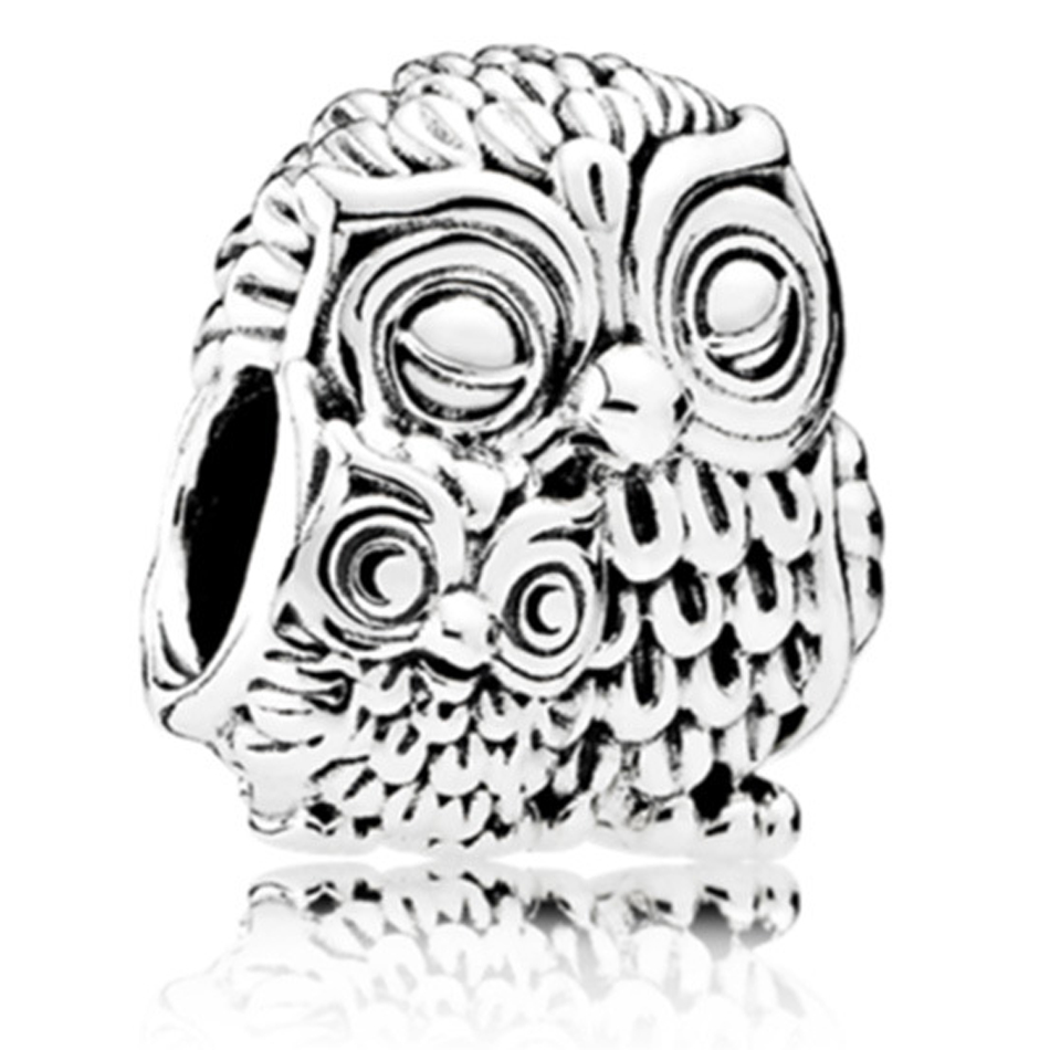 New Silver Plated Bead Charms Cute Two Owl Animal Beads Charm Fit Women Pandora Bracelets & Bangles Necklace DIY Jewelry(China (Mainland))