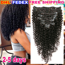 Kinky Curly Virgin Hair Clip in Human Hair Extensions Natural Brazilian Virgin Hair Clip In Kinky Curly Clip In Hair Extensions
