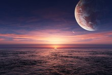 Water Ocean Sun Sea Planets Alien Landscapes Scenery Landscape Fabric Silk Poster Print Home Decoration BB0624-30