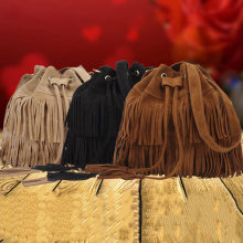 Women Faux Suede Drawstring Bucket Bag Vintage Handbag Fringe Tassel Messenger Shoulder Bags BS88