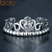 BAMOER Fashion Silver Color My Princess Queen Crown Stackable Ring for Women Wedding Jewelry PA7204