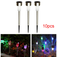 10pcs/Lot LED Spike Spot Solar Light Spotlight Landscape Garden Yard Path Lawn Lamps Outdoor Grounding Sun Light colorful(China)